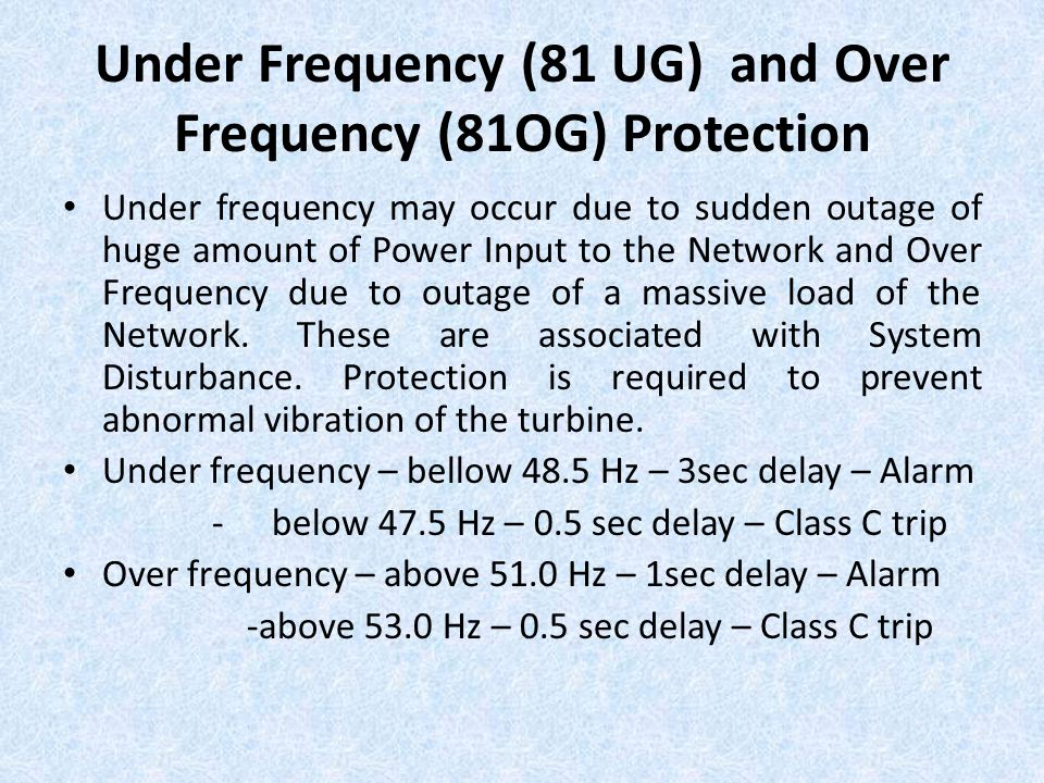 Under Frequency (81 UG) and Over Frequency (81OG) Protection