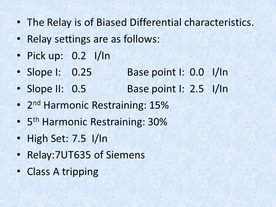 The Relay is of Biased Differential characteristics.