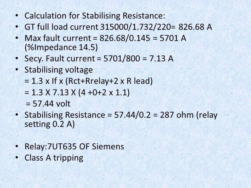 Calculation for Stabilising Resistance: