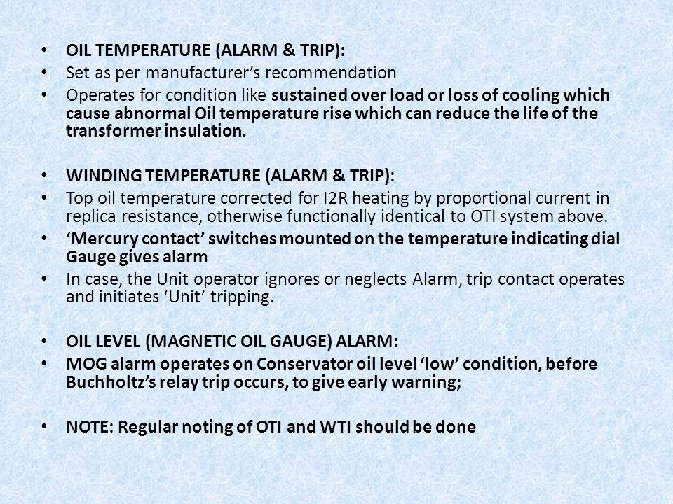OIL TEMPERATURE (ALARM & TRIP):
