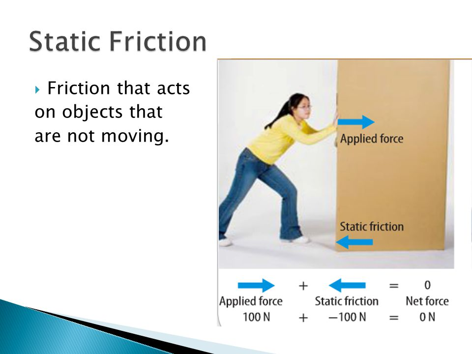 Static Friction Friction that acts on objects that are not moving.