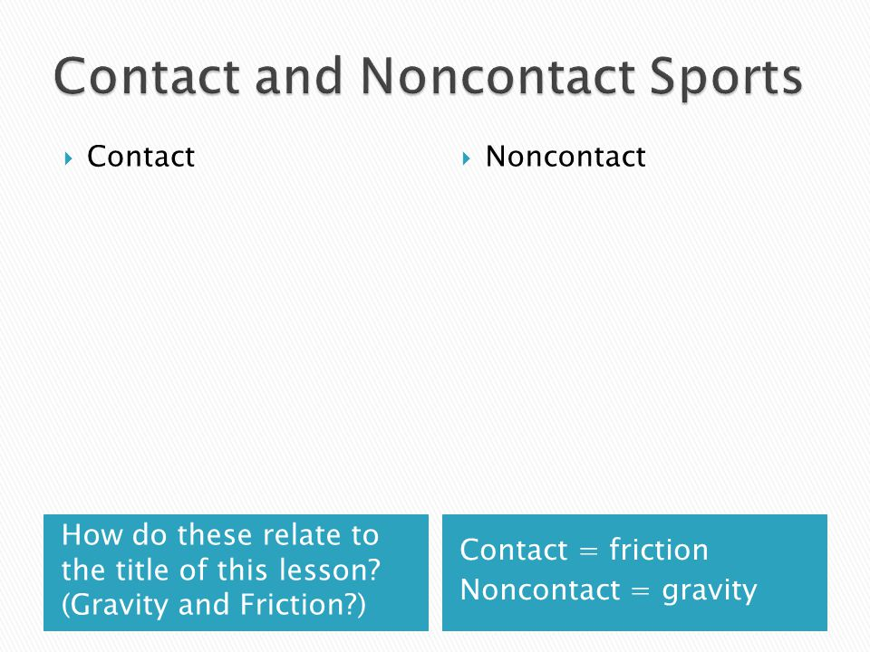 Contact and Noncontact Sports