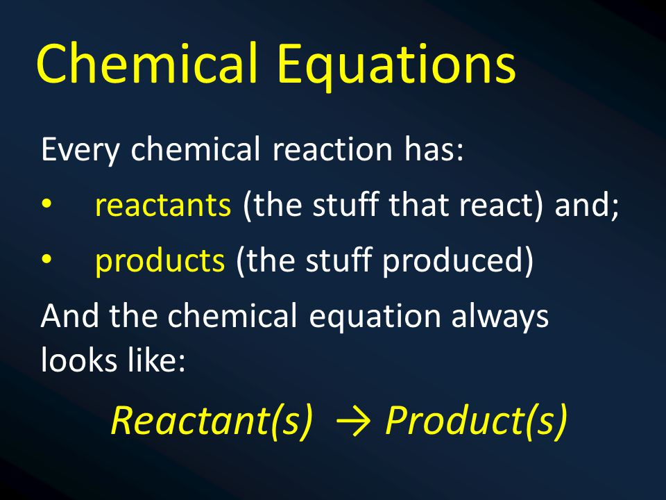 Reactant(s) → Product(s)