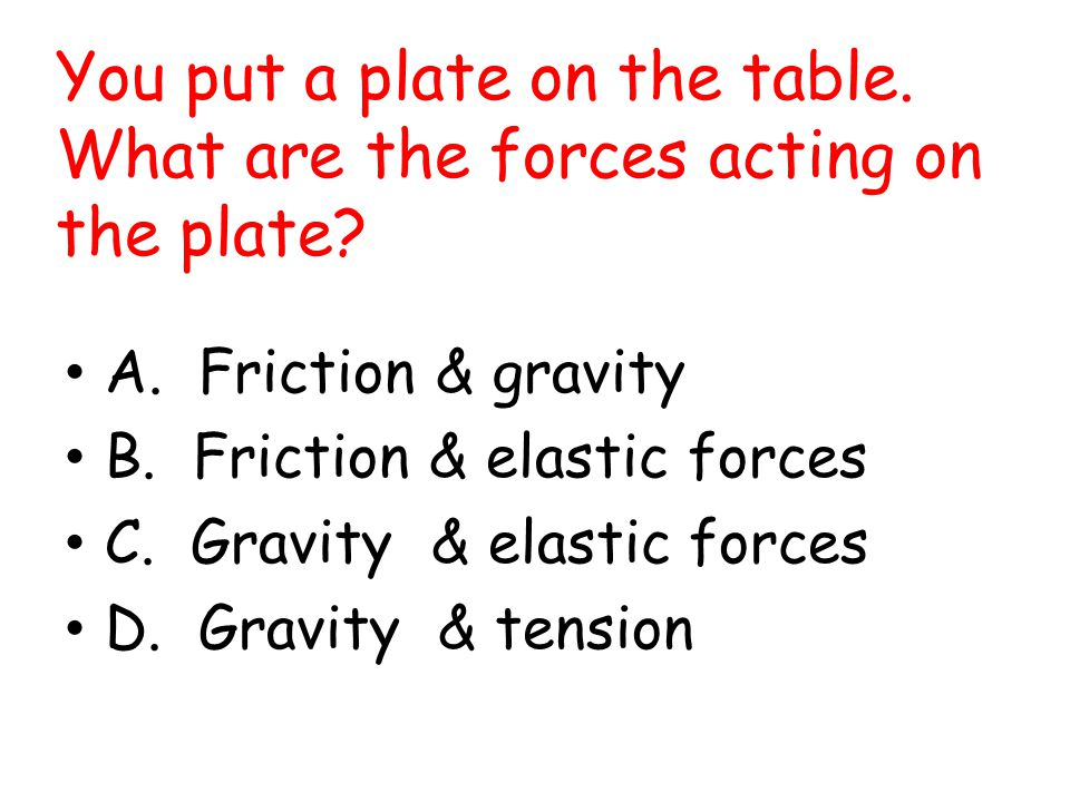 You put a plate on the table. What are the forces acting on the plate