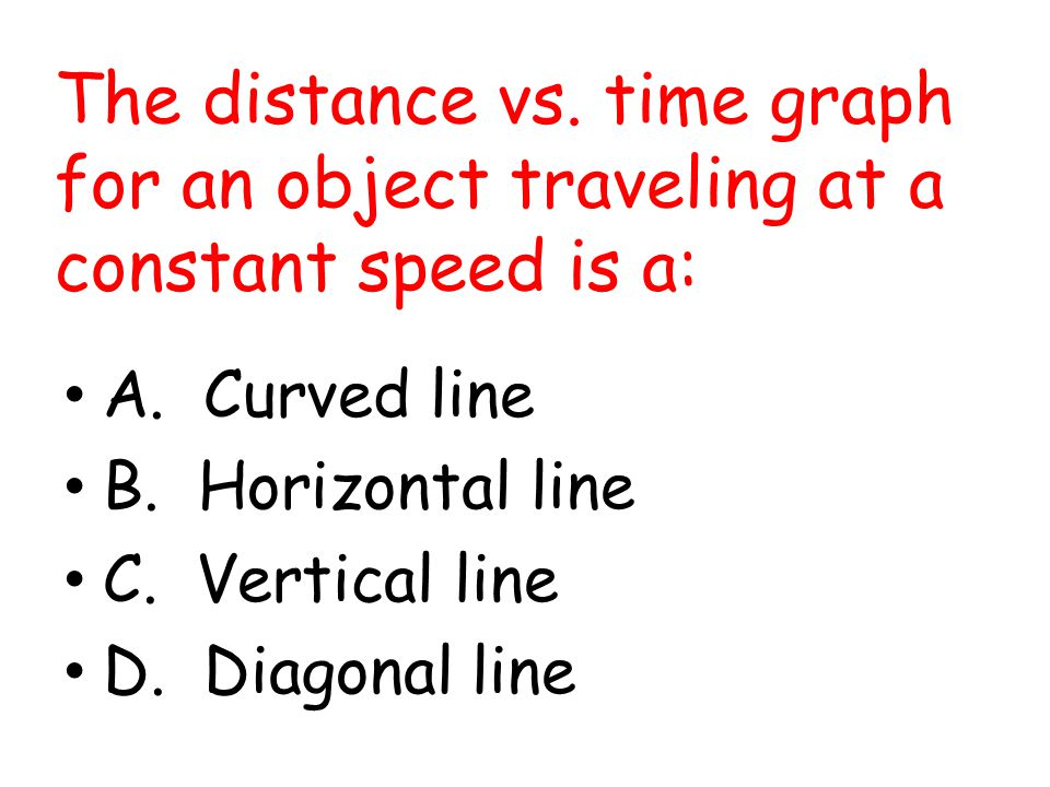 The distance vs. time graph for an object traveling at a constant speed is a: