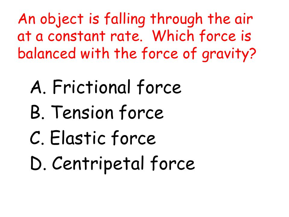An object is falling through the air at a constant rate