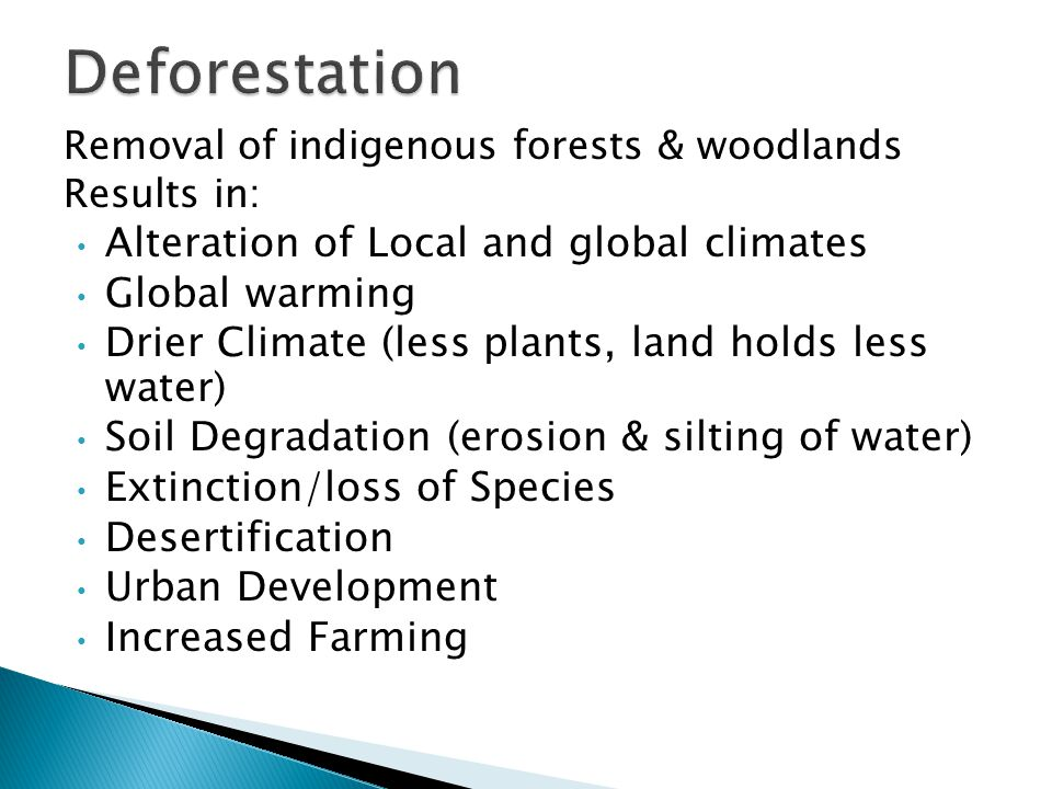 Deforestation Alteration of Local and global climates Global warming
