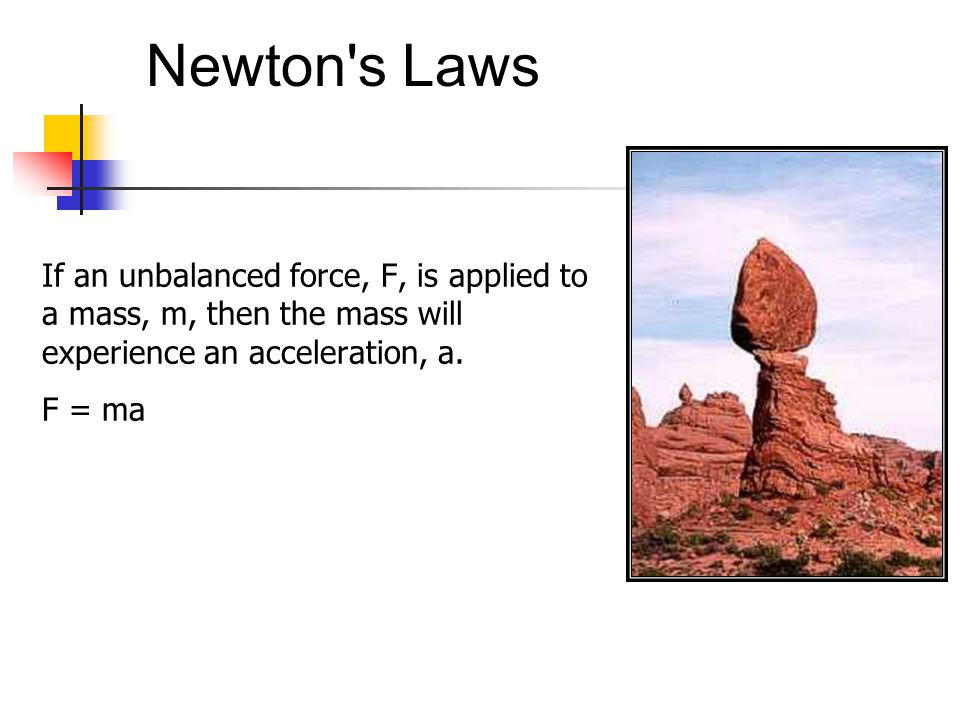 Newton s Laws If an unbalanced force, F, is applied to a mass, m, then the mass will experience an acceleration, a.