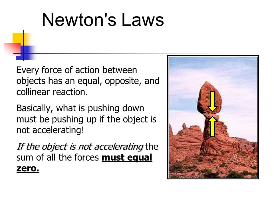 Newton s Laws Every force of action between objects has an equal, opposite, and collinear reaction.