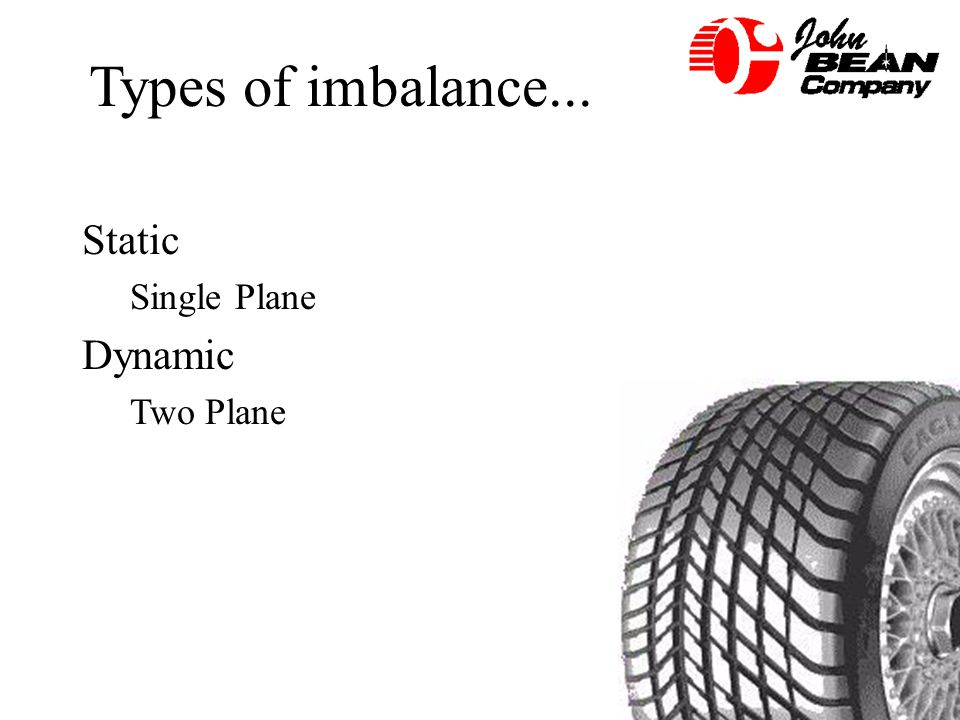 Types of imbalance... Static Single Plane Dynamic Two Plane