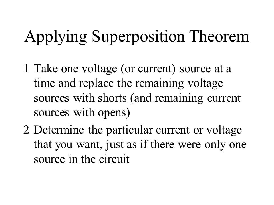 Applying Superposition Theorem