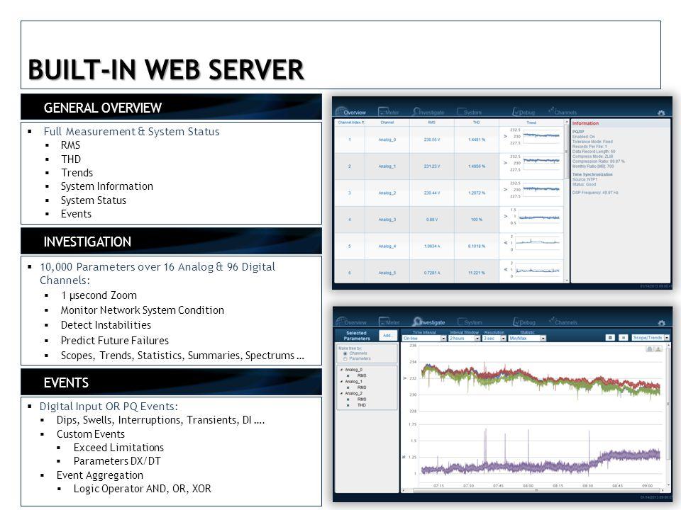 BUILT-IN WEB SERVER GENERAL OVERVIEW INVESTIGATION EVENTS