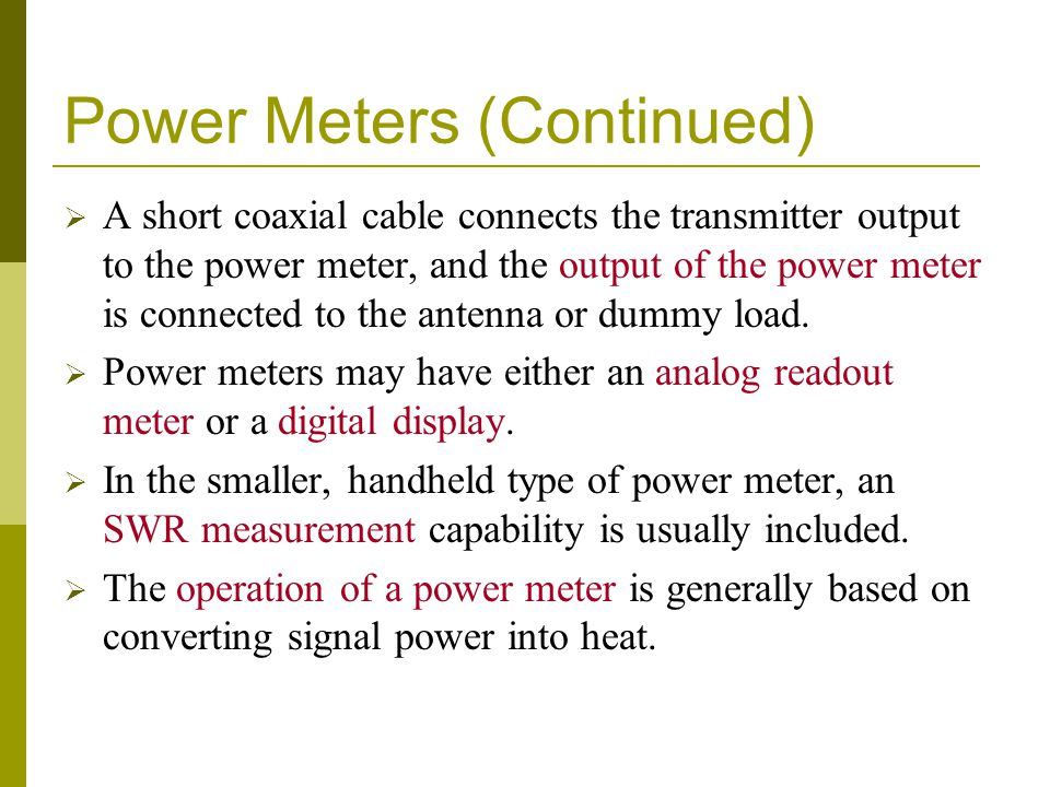 Power Meters (Continued)