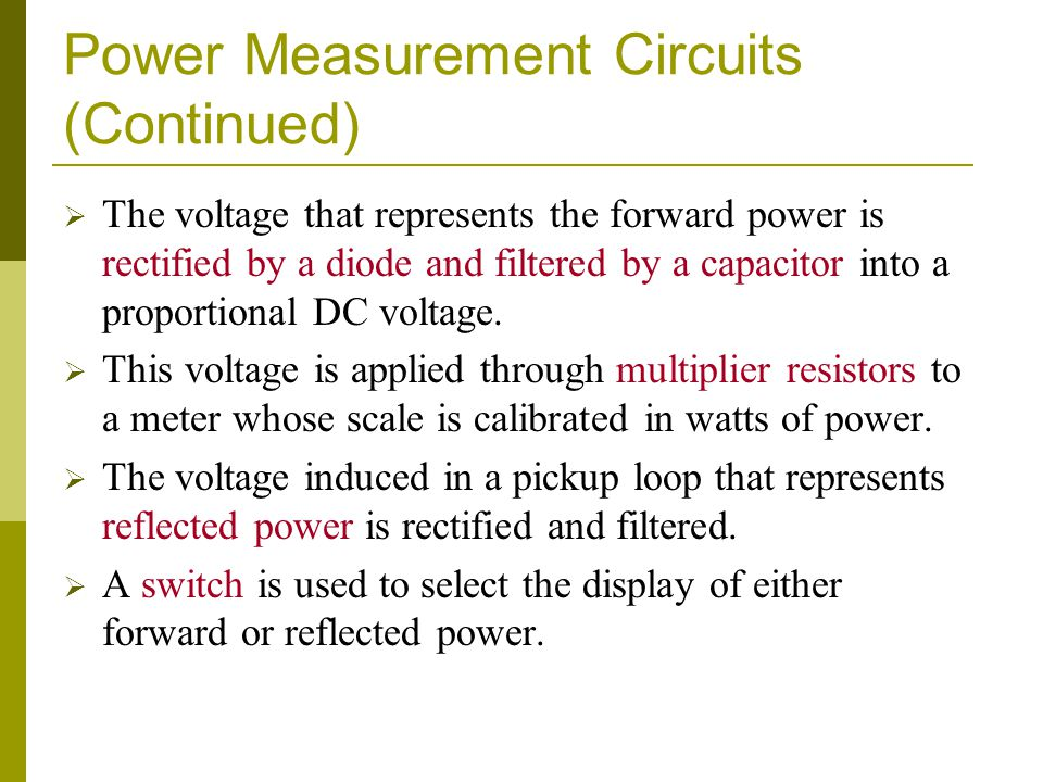 Power Measurement Circuits (Continued)