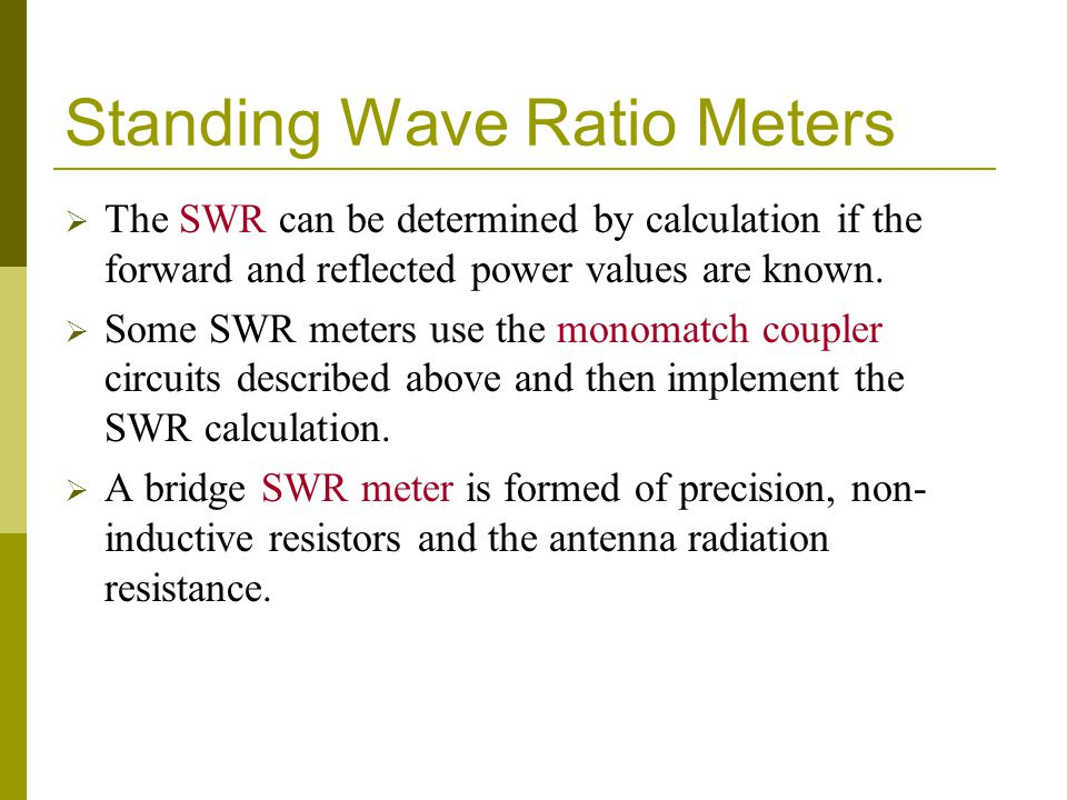 Standing Wave Ratio Meters