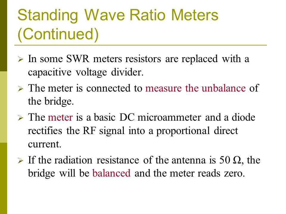 Standing Wave Ratio Meters (Continued)
