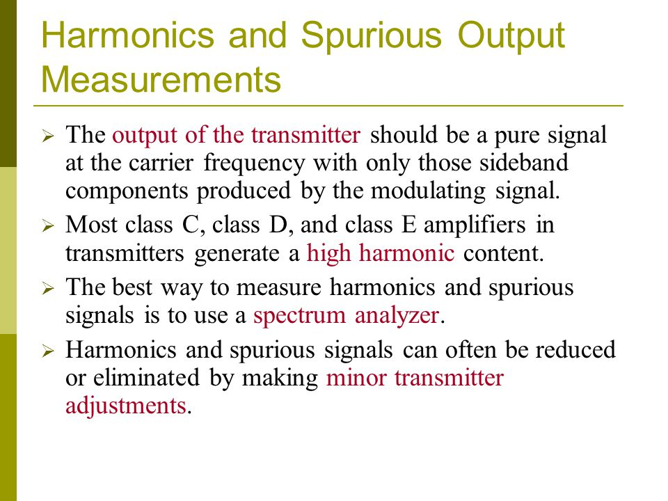 Harmonics and Spurious Output Measurements