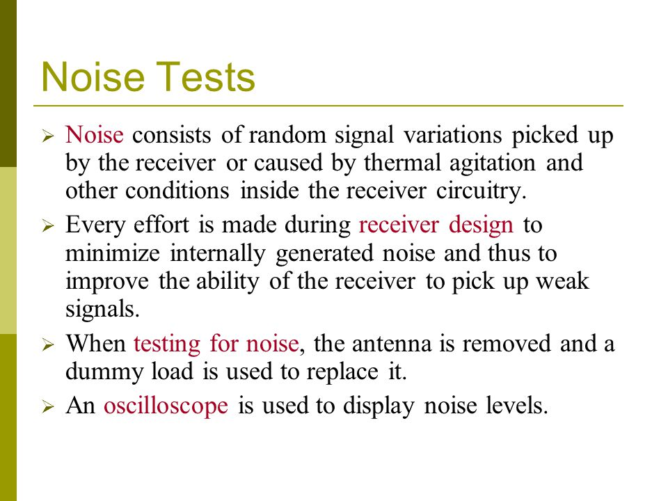 Noise Tests