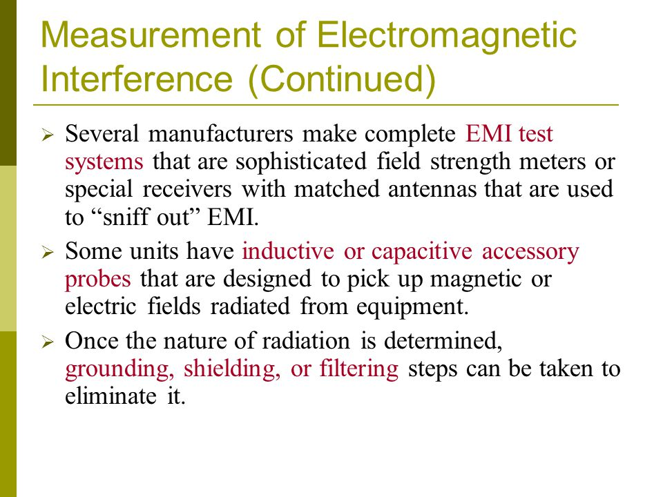 Measurement of Electromagnetic Interference (Continued)