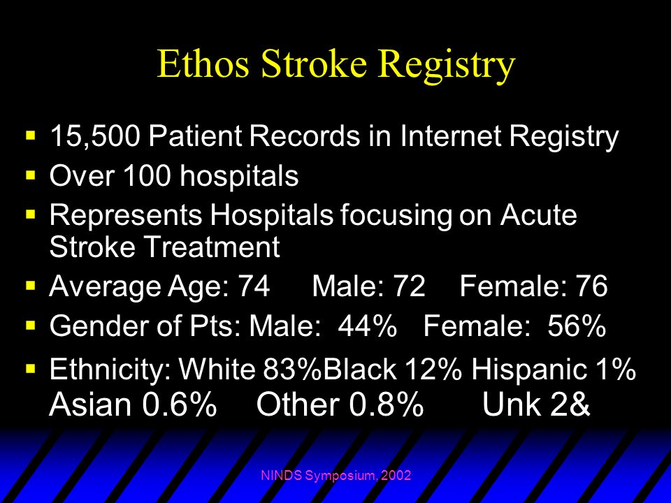 Ethos Stroke Registry 15,500 Patient Records in Internet Registry