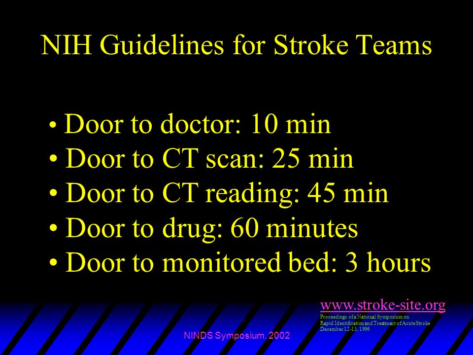 NIH Guidelines for Stroke Teams