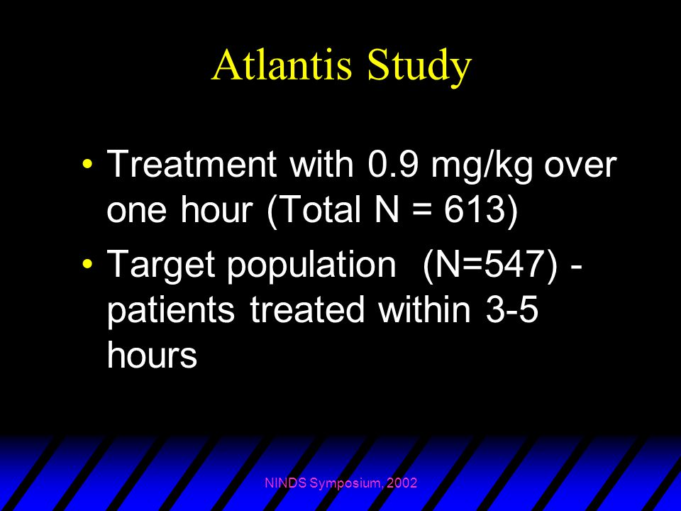 Atlantis Study Treatment with 0.9 mg/kg over one hour (Total N = 613)