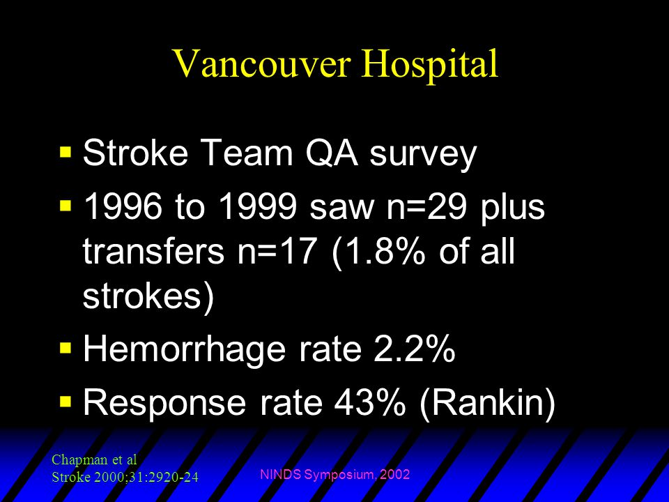 Vancouver Hospital Stroke Team QA survey