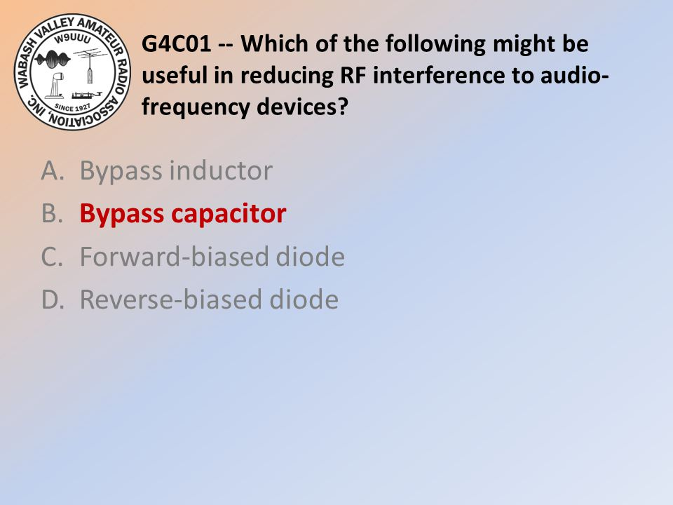 G4C01 -- Which of the following might be useful in reducing RF interference to audio-frequency devices