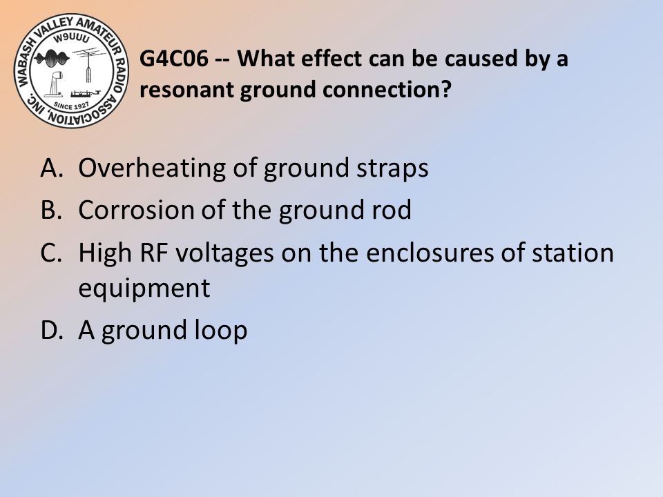 G4C06 -- What effect can be caused by a resonant ground connection