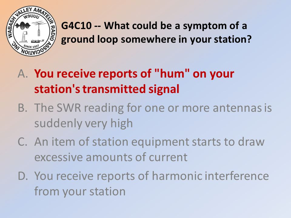 G4C10 -- What could be a symptom of a ground loop somewhere in your station