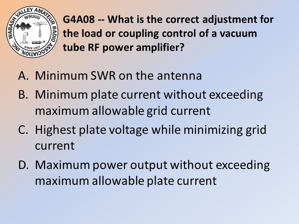 G4A08 -- What is the correct adjustment for the load or coupling control of a vacuum tube RF power amplifier