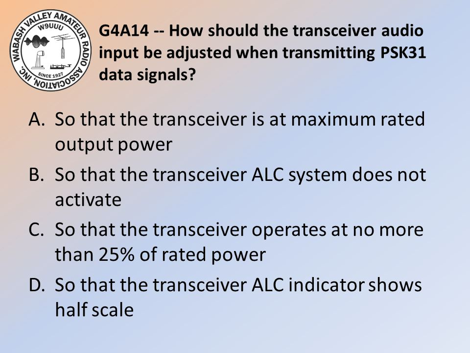 G4A14 -- How should the transceiver audio input be adjusted when transmitting PSK31 data signals