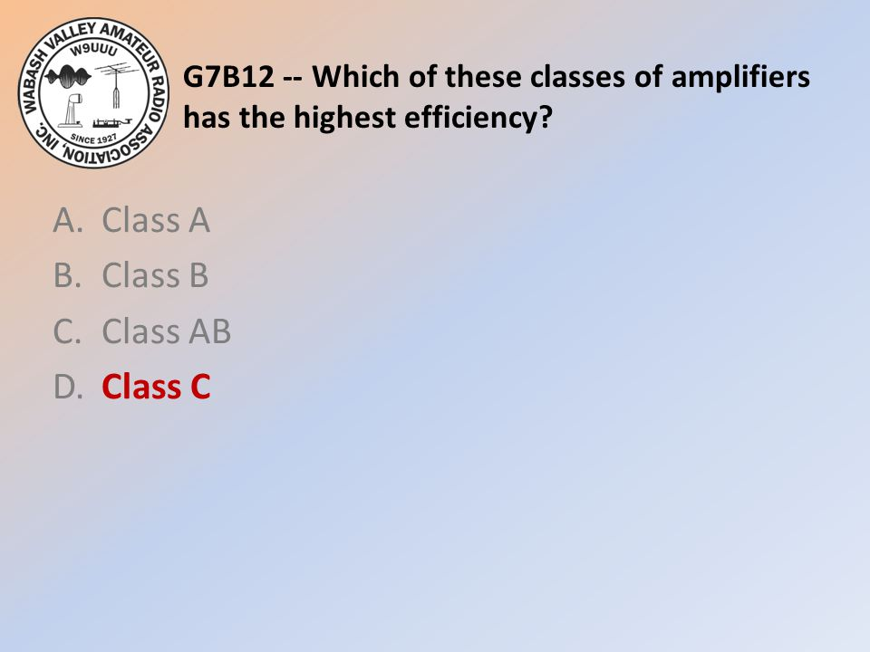 A. Class A B. Class B C. Class AB D. Class C