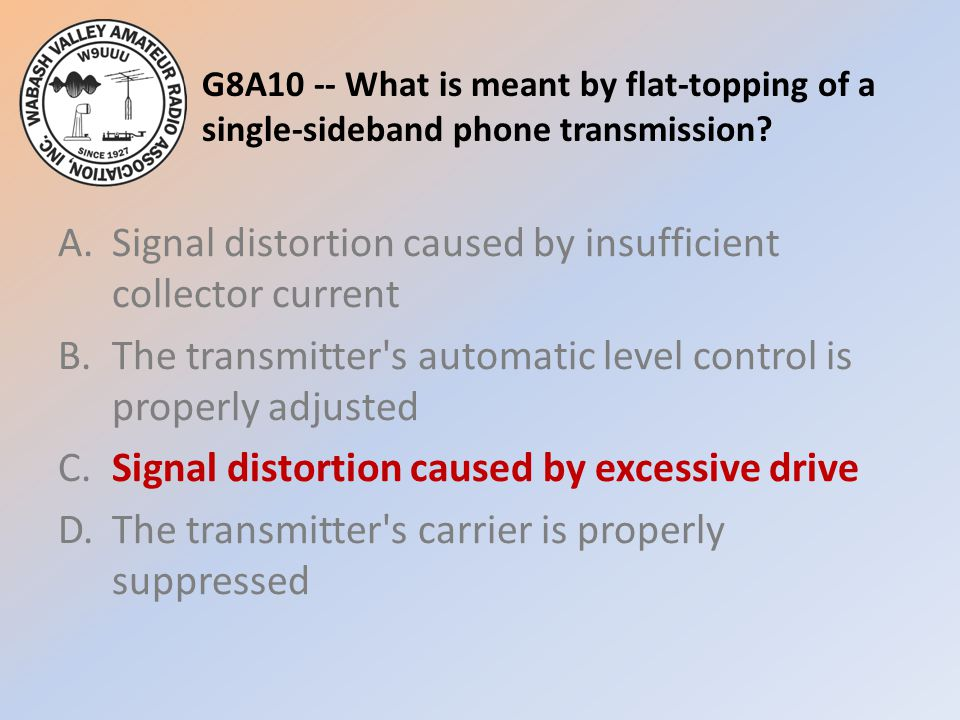 G8A10 -- What is meant by flat-topping of a single-sideband phone transmission