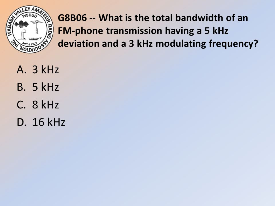 G8B06 -- What is the total bandwidth of an FM-phone transmission having a 5 kHz deviation and a 3 kHz modulating frequency