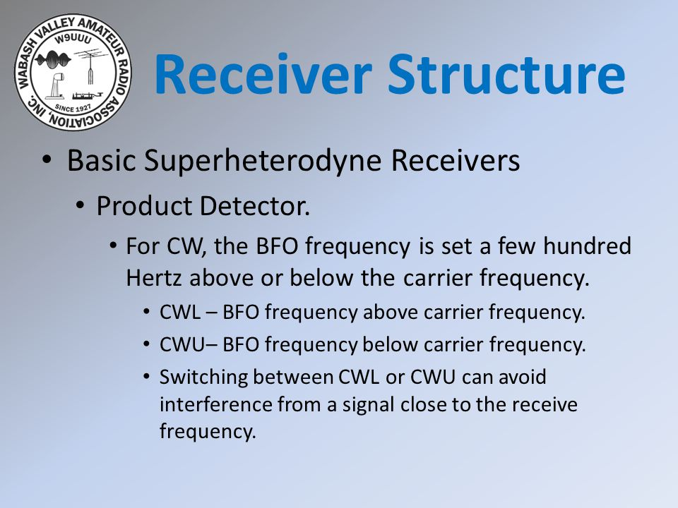 Receiver Structure Basic Superheterodyne Receivers Product Detector.