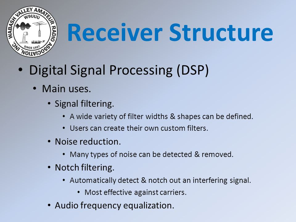 Receiver Structure Digital Signal Processing (DSP) Main uses.