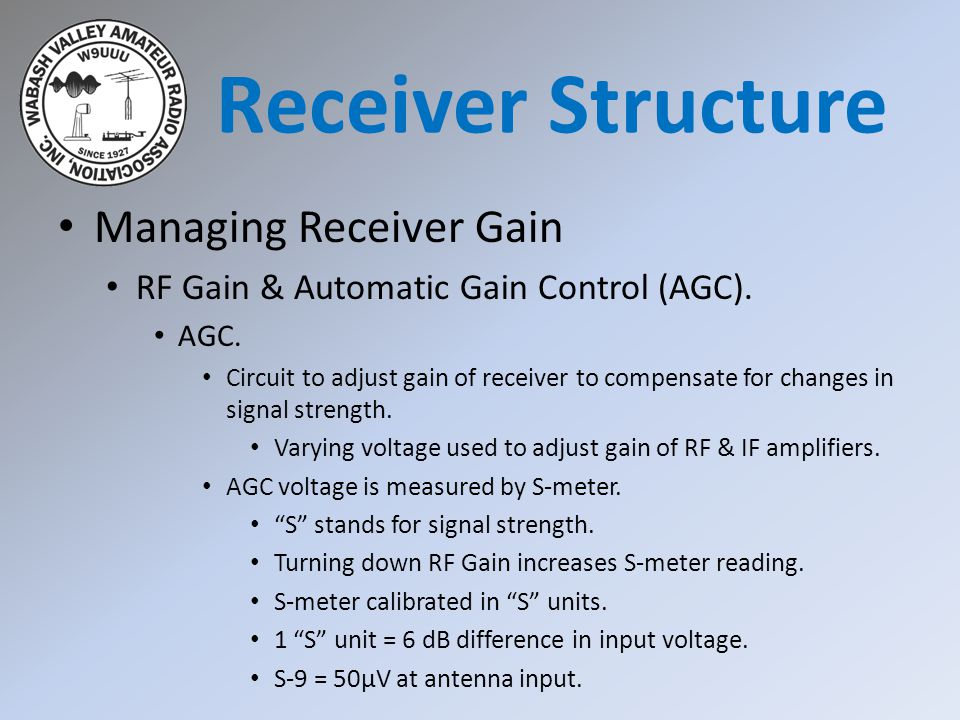 Receiver Structure Managing Receiver Gain