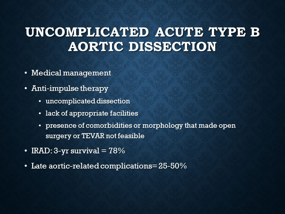 Uncomplicated Acute type B aortic dissection