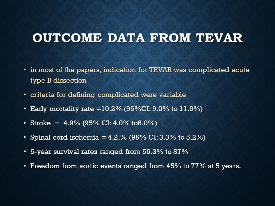 OUTCOME DATA FROM TEVAR