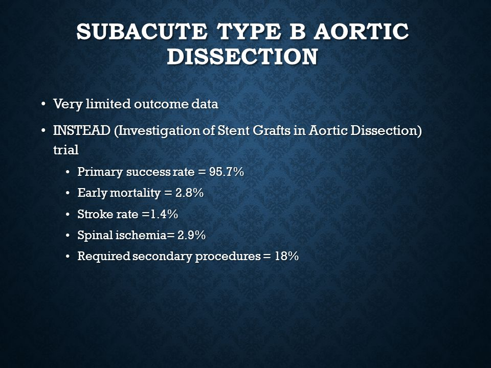 Subacute type B aortic dissection