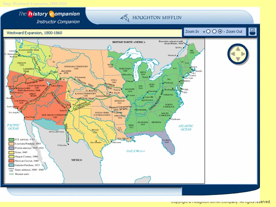 Map: Westward Expansion, 1800-1860