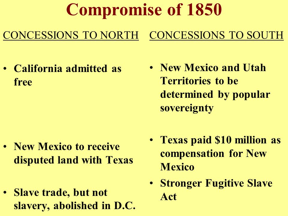 Compromise of 1850 CONCESSIONS TO NORTH California admitted as free
