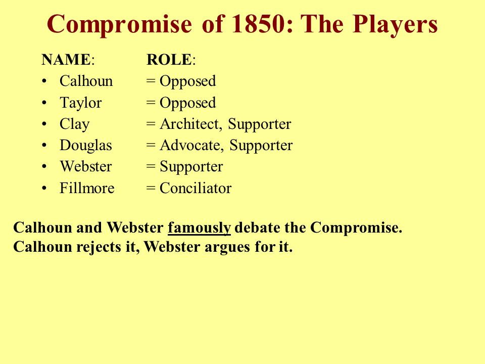 Compromise of 1850: The Players