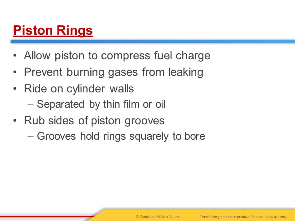 Piston Rings Allow piston to compress fuel charge
