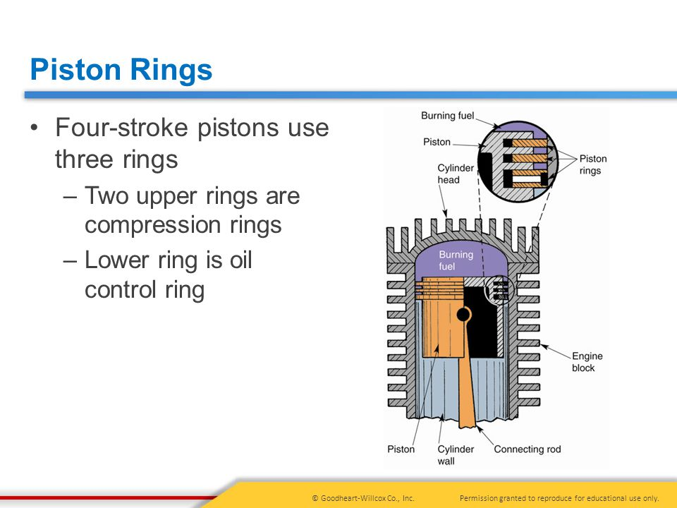 Piston Rings Four-stroke pistons use three rings