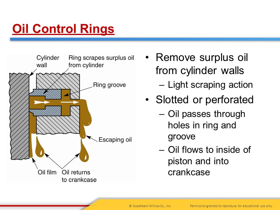 Oil Control Rings Remove surplus oil from cylinder walls