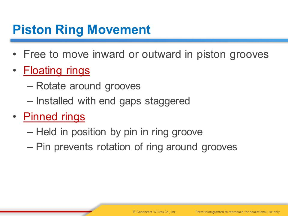 Piston Ring Movement Free to move inward or outward in piston grooves