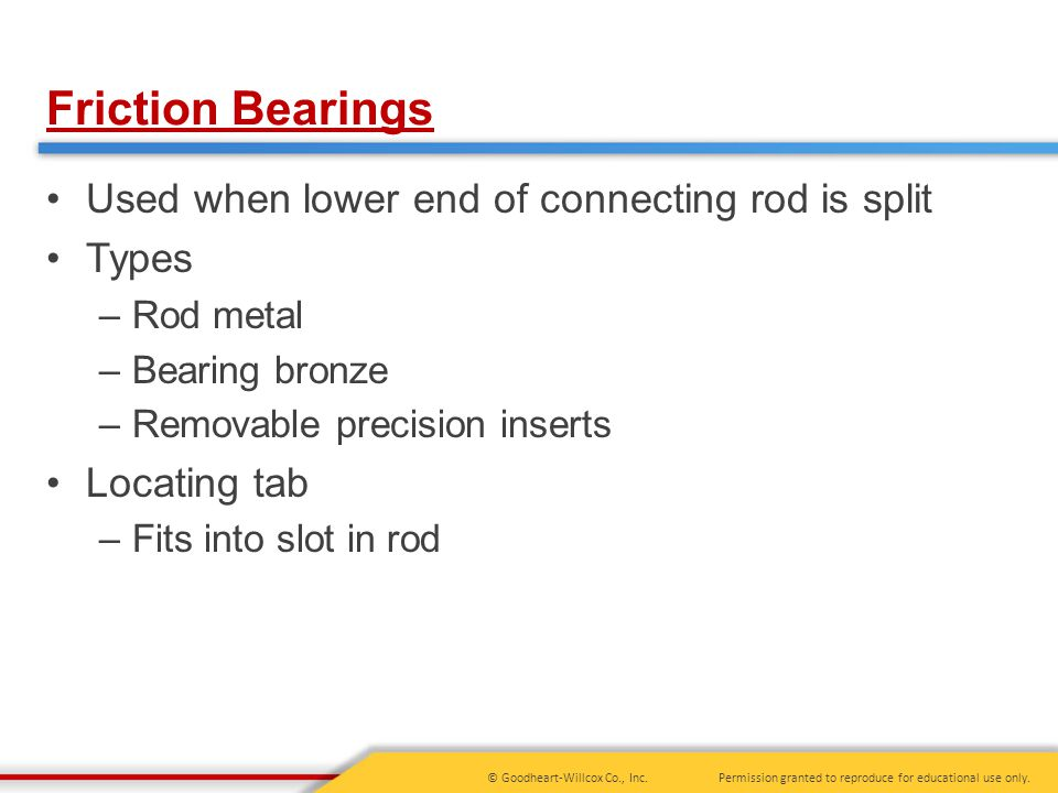 Friction Bearings Used when lower end of connecting rod is split Types