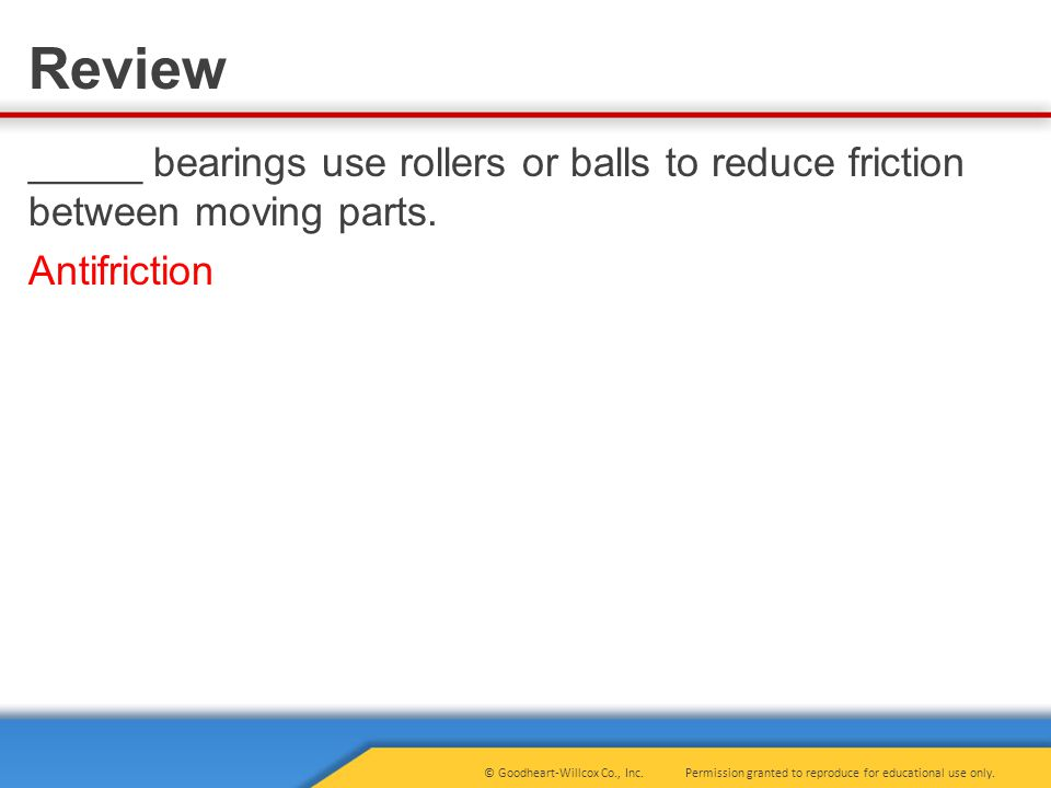 _____ bearings use rollers or balls to reduce friction between moving parts. Antifriction